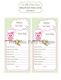 advice for the cards baby shower cards baby shower advice cards owl advice cards