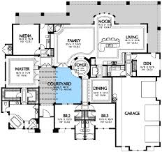 southwest floor plans courtyard houseplan plan w16365md luxury corner lot tuscan