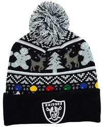 raiders christmas sweater with lights new era oakland raiders christmas sweater pom knit hat sports fan