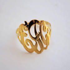 Monogram Gold Ring District17 14k Gold Monogram Ring Script Jewelry Personalized