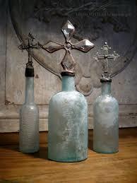 Blue Bottle Chandelier by Vintage Blue Cross Bottles