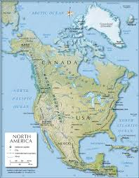United States Map With Labeled States by Shaded Relief Map Of North America 1200 Px Nations Online Project