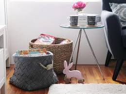 how to store pillows baskets in living room as decoration to store small pillows or books