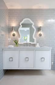 Mirrored Subway Tile Backsplash Bathroom Transitional With by White Floating Washstand With Gray Subway Backsplash Tiles