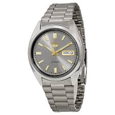 brand new seiko 5 gents grey dial automatic stainless steel watch