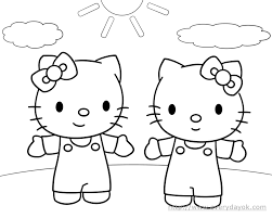 the hello kitty twin sister play in the sun colouring page picolour