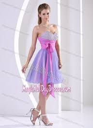 color sweetheart knee length holiday dress with beading and bowknot