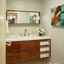 contemporary zebra wood vanity cabinet with elegant built in