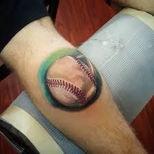 best realistic baseball tattoo on back leg u2013 truetattoos