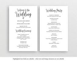 print your own wedding programs printable wedding program rustic wedding program editable