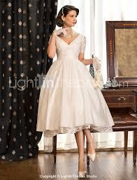 a line princess v neck tea length taffeta wedding dress with lace