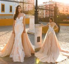 2018 mermaid wedding dresses sheer neck cap sleeves appliques