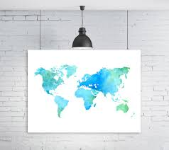 World Map Printable by Blue Map Green Map Blue Watercolor Watercolor World Map