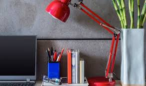 home office ideas desk decoration with bright red modern table