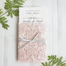wholesale wedding invitations blush pink laser cut wedding invitation with gray band