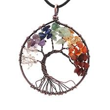 copper necklace pendant images Tree of life 7 chakra gemstone necklace with crystals jpg