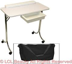 portable white manicure nail table station beauty spa salon