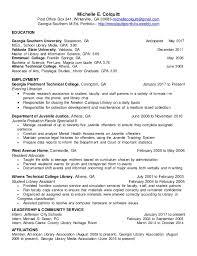 Library Resume Michelle Colquitt Portfolio Resume