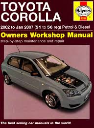 toyota corolla petrol u0026 diesel 02 jan 07 haynes repair manual
