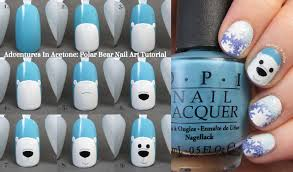tutorial tuesday polar bear nail art adventures in acetone