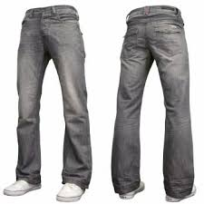 mens a42 designer bootcut denim grey wash