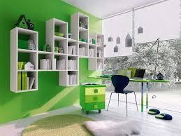 Desk And Shelving Units Bedroom Bedroom Cool Kids Bedroom Interior With Modern Green