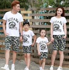 summer cotton suits for family four baby clothes set