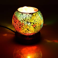 Himalayan Salt Lamp Multi Color Mosaic Glass Himalayan Pink Crystal Salt Lamp 6 In