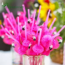 Pink Cocktails For Baby Shower - 2017 10pc bendable plastic flamingo cocktails drinking straws