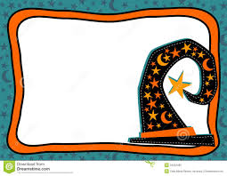 halloween paper border witch hat halloween frame with stars and moons royalty free stock
