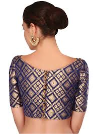 navy blue blouse featuring navy blue blouse in brocade silk kalkifashion