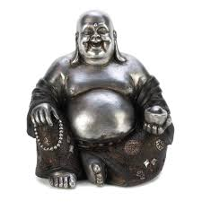 Wholesale Gifts And Home Decor Wholesale Laughing Buddha Black U0026 Silver Tone Sitting Happy
