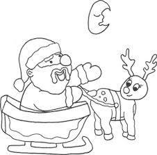 santa sleigh u0026 reindeer coloring sheet