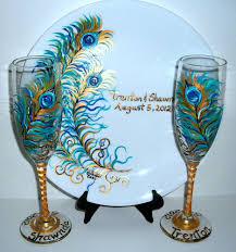painted wedding plates personalized wedding glasses painted peacock feathers chagne flutes