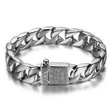 mens stainless steel chain bracelet images Boniskiss chunky heavy mens stainless steel curb chain bracelet in sil jpg