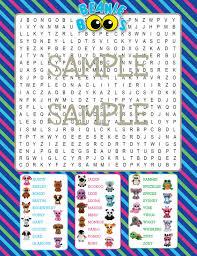 beanie boo printable word digital download beanie