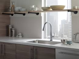 kitchen gooseneck kitchen faucet with pull out spray delta touch