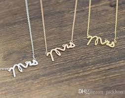 Stamped Initial Necklace Wholesale N111 Gold Silver Simple Dainty Mrs Necklace Small