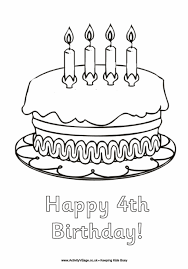 happy 4th birthday colouring page