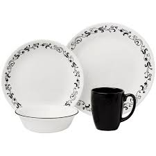 Corelle 76 Piece Dinnerware Set Corelle Squares Kobe 16 Piece Dinnerware Set Walmart With Regard