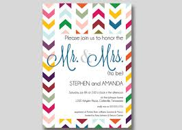 couples wedding shower invitations chevron mr mrs couples wedding shower invitation custom diy