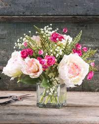 Peony Floral Arrangement by Beautiful Garden Inspired Silk Peony Arrangements At Petals