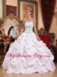 beautiful quinceanera dresses white taffeta quinceanera dress with green appliques mydresscity