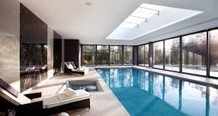long narrow pool in basement for swimming laps relaxing or