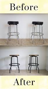 best 25 bar stool makeover ideas on pinterest stool makeover outdated to industrial barstool makeover diy love this upcycle of old barstools with a rustic wooden seat refinish great idea for kitchen or dinette