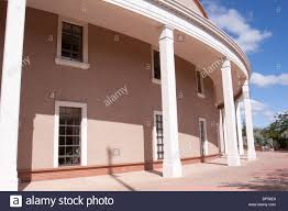 columns of the roundhouse state capitol building in santa fe new