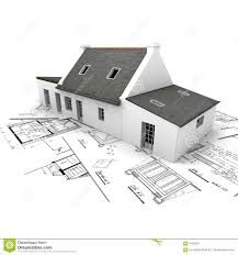 architecture model house on top of blueprints royalty free stock architecture