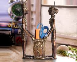 buy pen stand for office table made of antique brass metals home