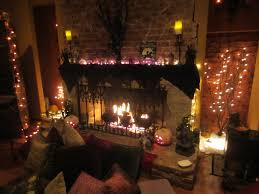 spooky halooween fireplace design with scary lights part of