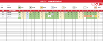 free monthly work schedule template crew